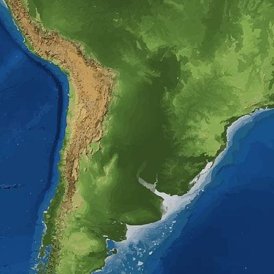 Mapa físico de parte de América del Sur